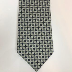 Tommy Hilfiger Green Navy Square 100% Silk Tie